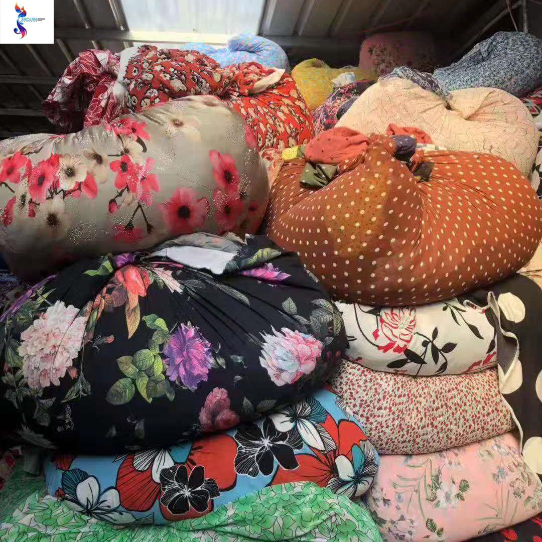 Shaoxing wholesale chiffon print cutting pieces fabric stock lot for dress