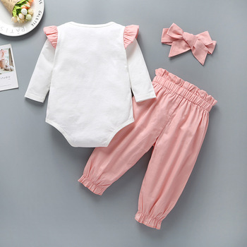 New minimalist style baby autumn color matching long sleeve khaki plus bow waist pants with headwear three-piece suit