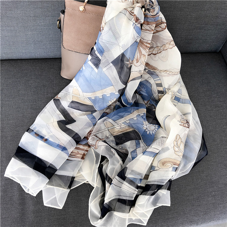 Nautical Wind Soft Yarn Scarf Female European and American Thin Spring and Summer Long Printed Silk Scarf