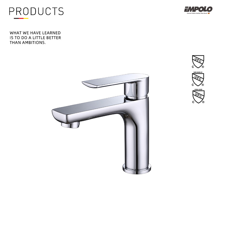 Factory Price Bathroom Modern Faucet brass chrome wash basin sink taps basin faucet single cold