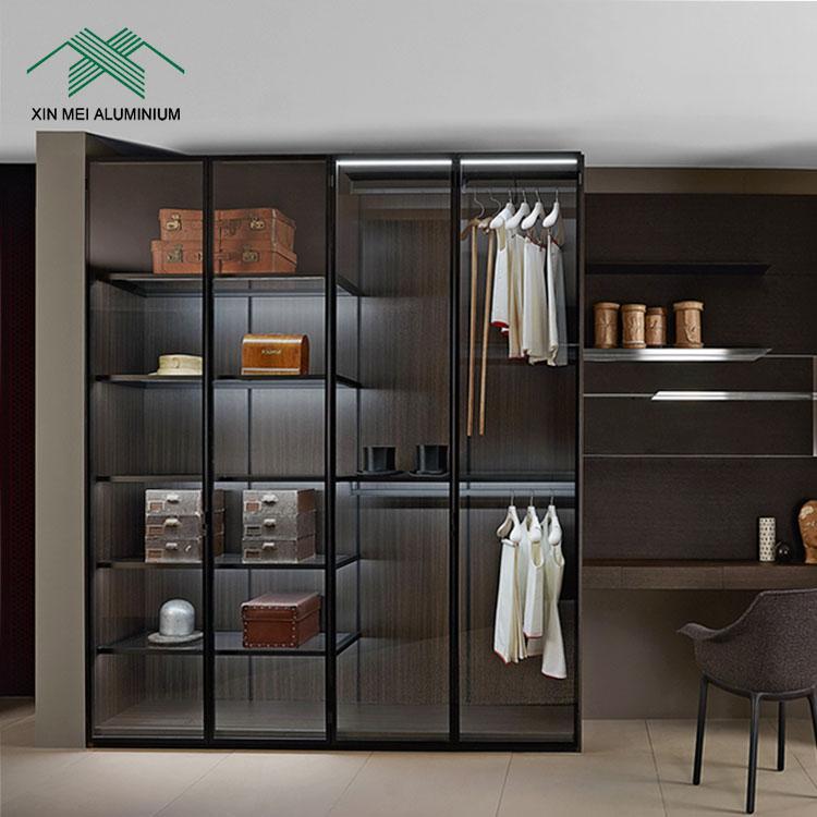 aluminum kitchen hanging cabinet wardrobe cabinet door customized glass frame