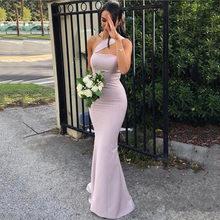 Женское длинное шифоновое платье, фиолетовое длинное платье подружки невесты на одно плечо с открытой спиной, вечерние платья для выпускно...(Китай)
