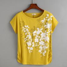 2020 хлопковая Футболка с цветочным принтом женская 4XL свободная летняя футболка с коротким рукавом с графическим принтом желтая футболка modis...(China)