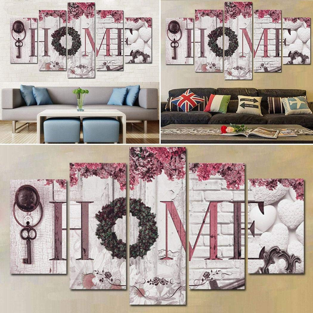 5 Pieces Canvas Letter Floral Modern  Wall Art Picture Decorations Living Room
