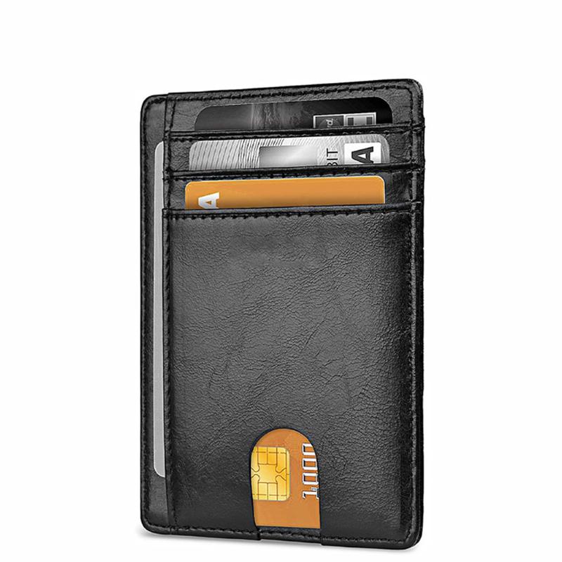 RFID Блокировка ID держатель кредитной карты настроить логотип Amazon Горячая продажа мягкий PU кожаный материал тонкий бумажник для мужчин