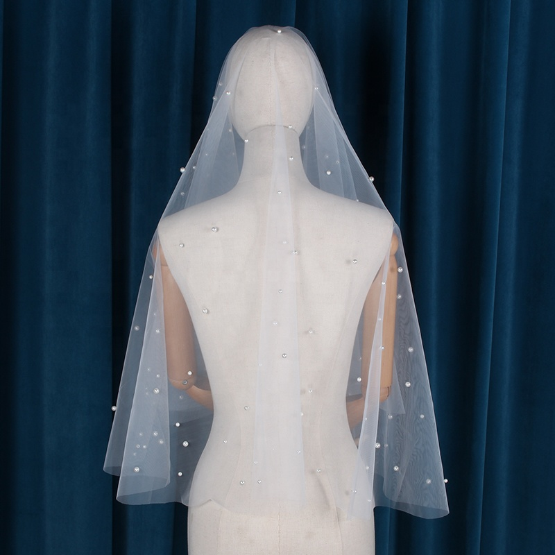 One Layers White High Quality Wedding Veils With Pearl Soft Bride Veils For Women