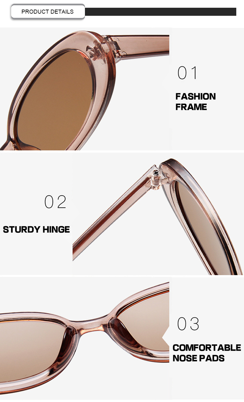 Cheapest Personality Small Frame Light Cow Color Men Women Oval Sunglasses