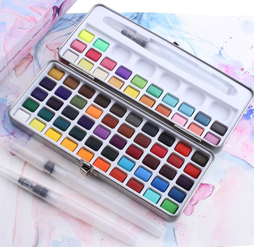 2020 Hot Selling New Design Rich Color 72 Colors Watercolor Paint Set With Paint Brush For Artist