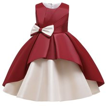 Платья для девочек, бальное платье принцессы в стиле ретро с большим бантом, Вечерние Платья с цветочным принтом для девочек(Китай)