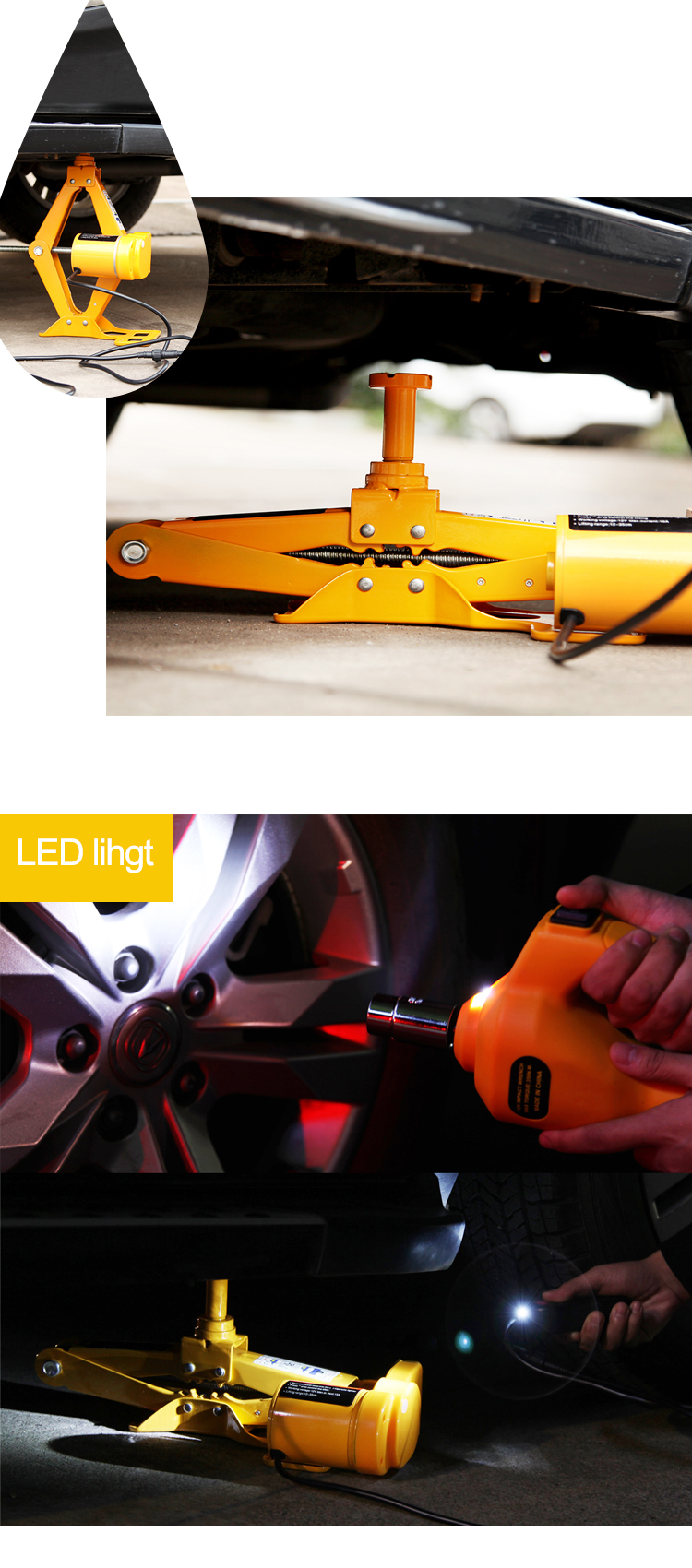 Widely Used CE ISO Standard 12 Volt Electric Wrench 3 Ton Mobile Automatic High Lift Scissor Car Electric Jack for SUV