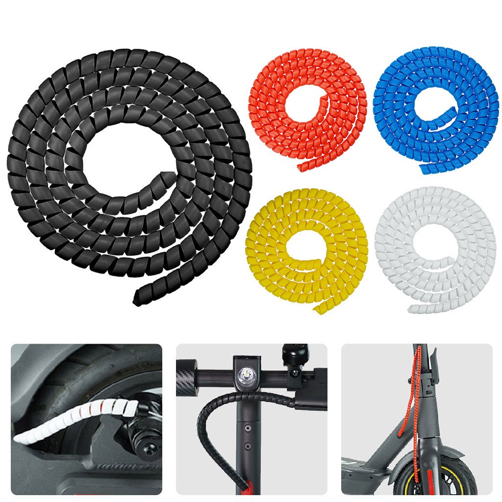 5Pcs Bicycle Brake Cable Housing Protector Bike Cable Spiral Sleeves White