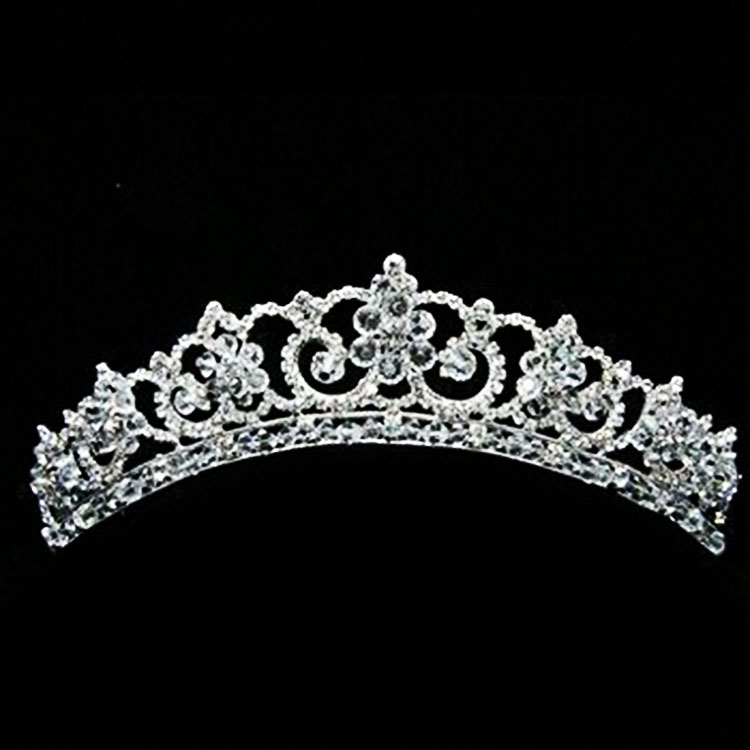Silver Rhinestone Elegant Headband Headpiece Crown Tiaras with Forehead Bridal