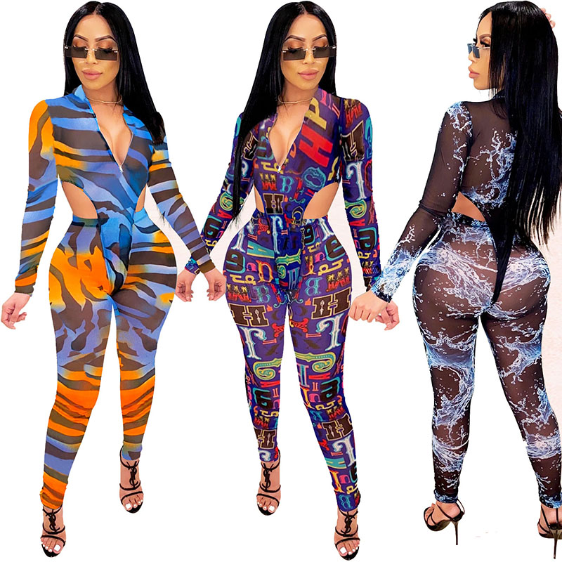 Women's Fashion See Thtough jogging sport Tracksuits two pieces Bodysuit Tops with Pants