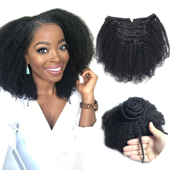 Mongolian virgin remy 4b 4c afro kinky curly coily clip in hair extensions 100% human hair,wholesale cheap human hair extension