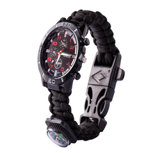 Multifunctionele Gear Kompas Flint Survival <span class=keywords><strong>Paracord</strong></span> Armband <span class=keywords><strong>Horloge</strong></span>