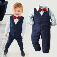 WSG133 2019 Kids Baby Boys Tuxedo Suit Blazers Shirt Waistcoat Tie Pants Formal boy suit