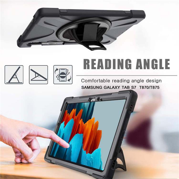 "Full-Body Rugged Trifold Stand Case for Samsung Galaxy Tab S7 11"" SM T870 T875 2020 with Pencil Holder"