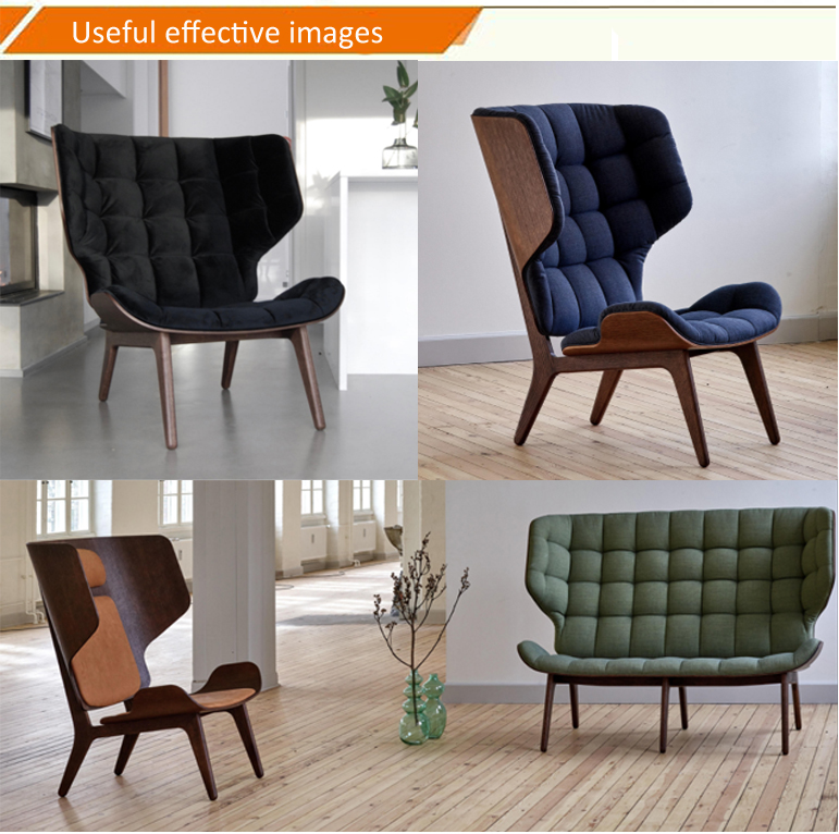 Popular leisure fabric wood living room home furniture lounge mammoth chair