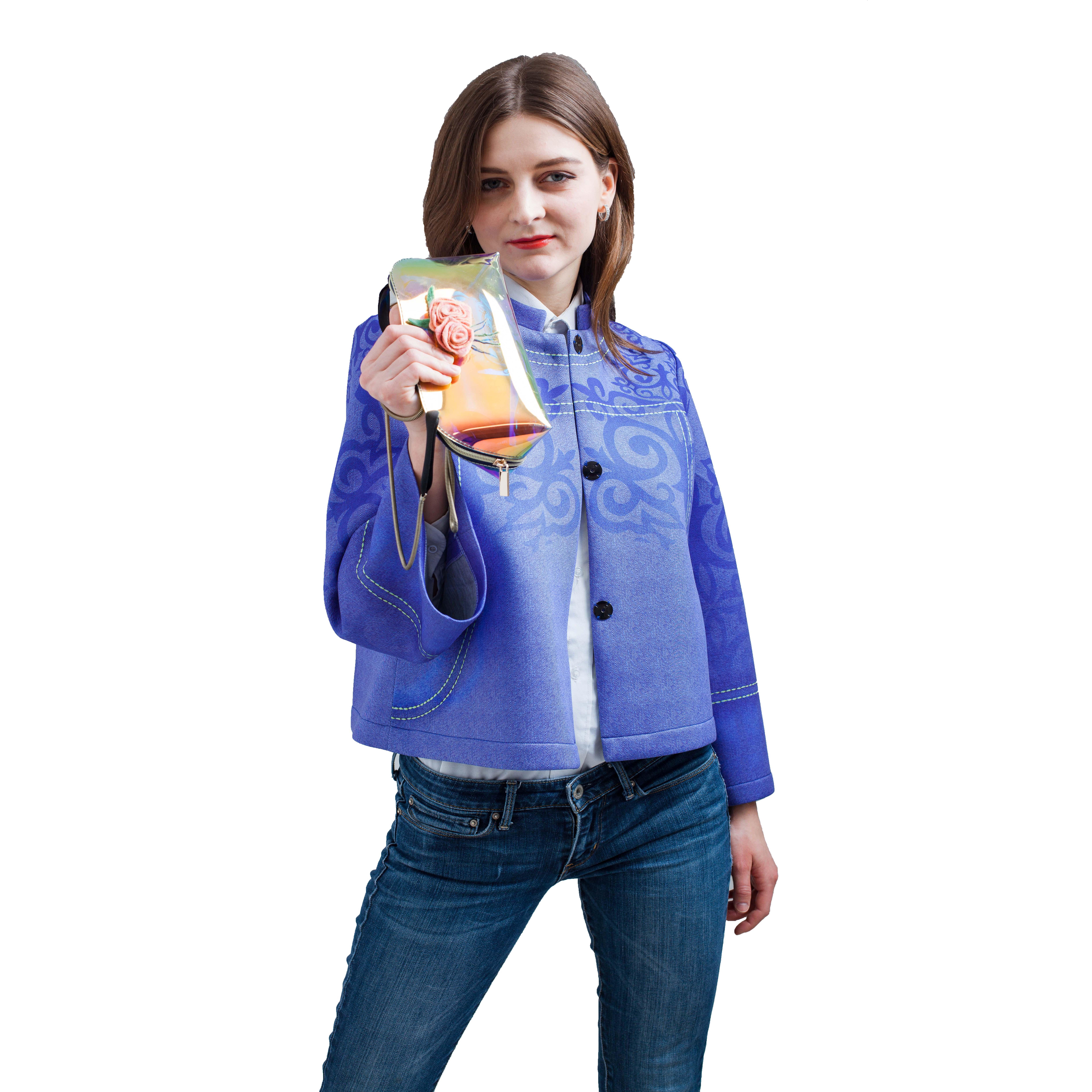 Kadın ilkbahar ve sonbahar hava tabakası rahat rüzgar polyester pamuk karışık kumaş baskılı ceket