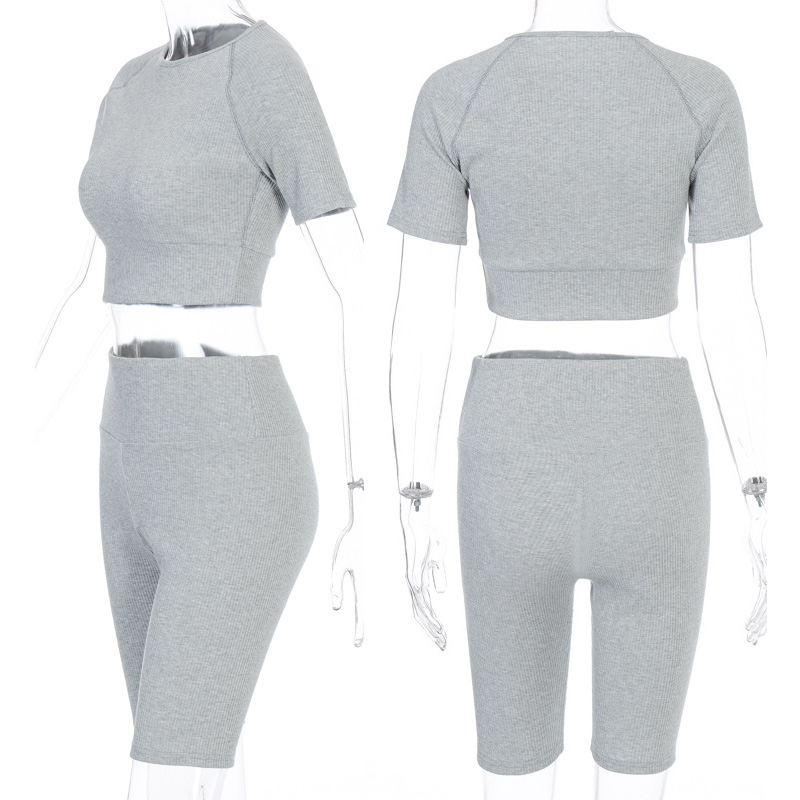 Women High Elastic Short Sleeves Two Pieces Shorts Set Casual 2 Piece Women Outfit