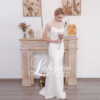 2020 new style fishtail silk fabric hand sewn pearl trail ceremony wedding dress
