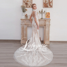 Light champagne elegant Decal Mermaid Wedding dress long floor length moderate wedding dress lace wedding dress 2020