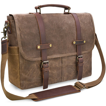 Men Messenger Bag 15.6 Inch Waterproof Vintage Leather Waxed Canvas Briefcase Large Satchel Shoulder Bag laptop bag for dell hp
