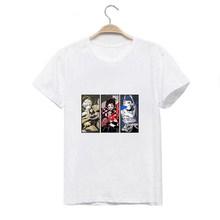 LUSLOS японская аниме Kimetsu No Yaiba футболка Летняя белая футболка с принтом «Демон-убийца» Harajuku футболки Femme(Китай)