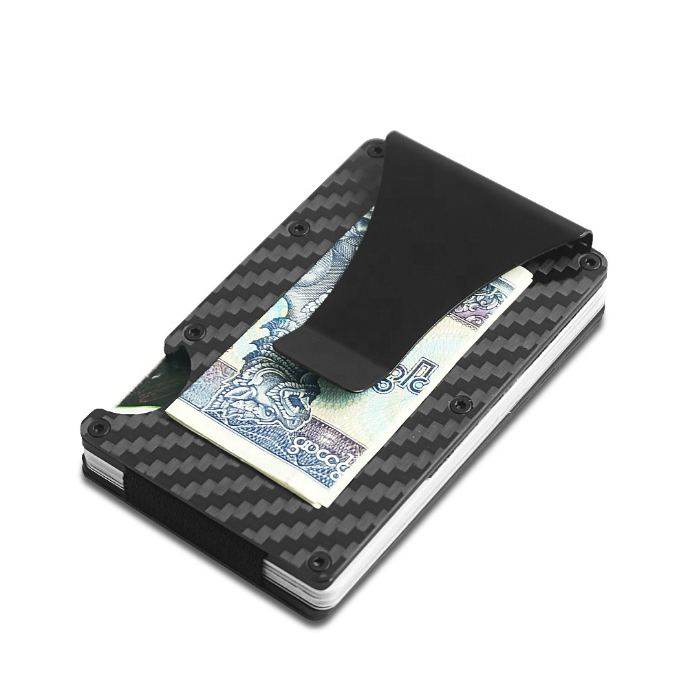 New RFID Blocking Minimalist Carbon Fiber Money Clip Wallet with bottle opener function for Men