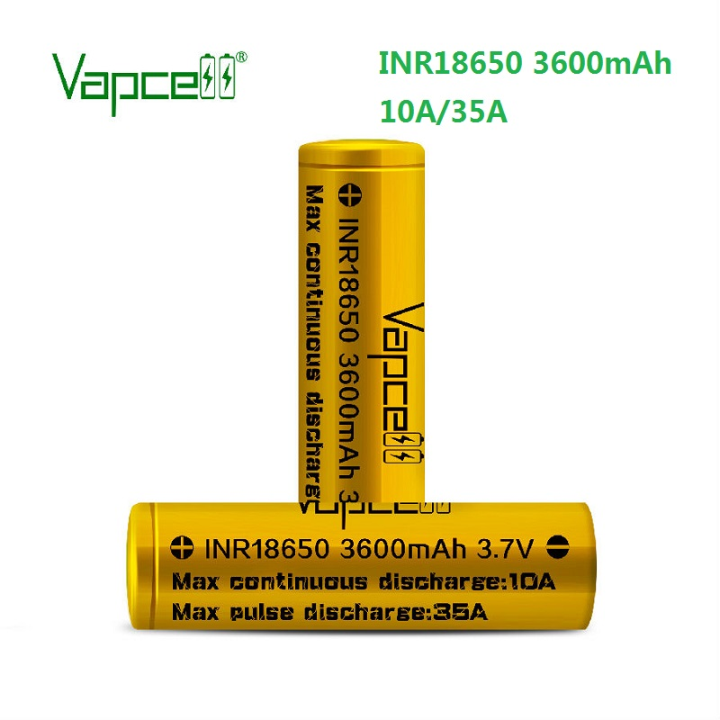 18650 Wholesale vapcell gold 18650 3600mah 35A high diran lithium Rechargeable 3.7 vape mod flashlight battery cell