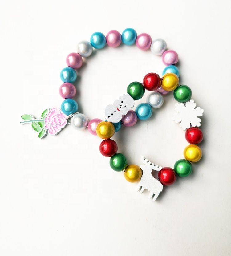 Wholesale custom 10MM plastic high quality kids beaded bracelet Christmas tree beaded set