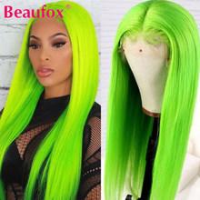Beaufox, желтый, бразильский, прямой парик, кружевные, передние, человеческие волосы, парики, зеленые, кружевные, передние парики, розовые, цветн...(Китай)