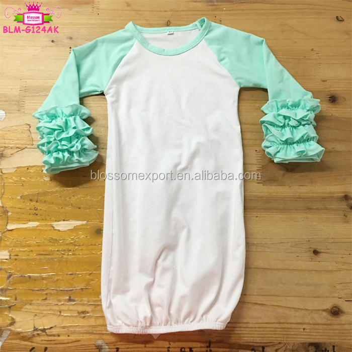 New Arrival Baby Evening Gown Knit Cotton Icing Ruffle Baby Gown Baby Dressing Gowns Sleep Gown