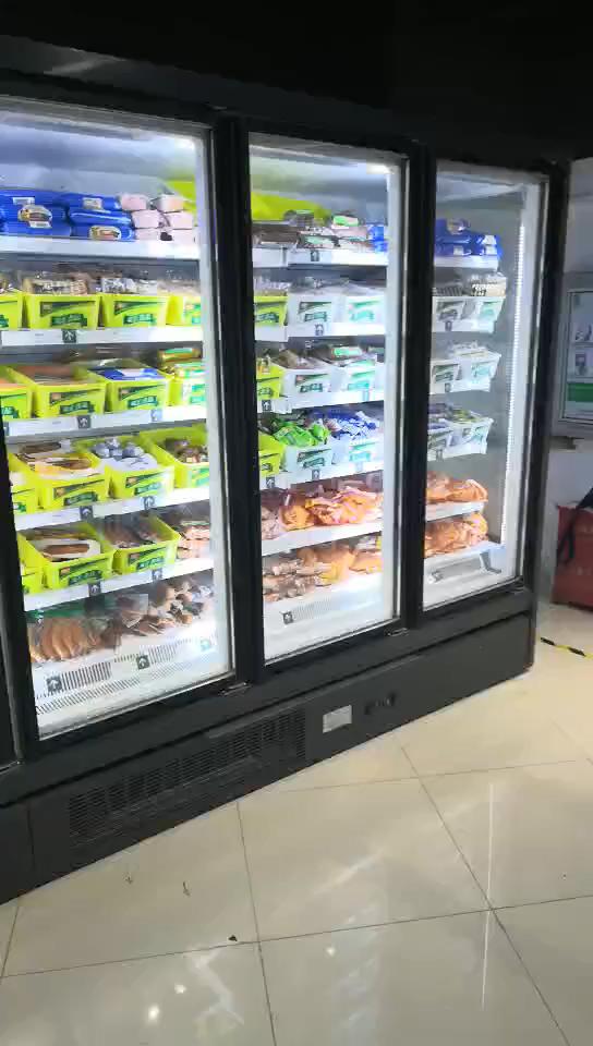 -18~ -22 2 3 Big Glass Door  Commercial Upright Deep Refrigerator Freezer for Restaurant supermarket LED Lighting
