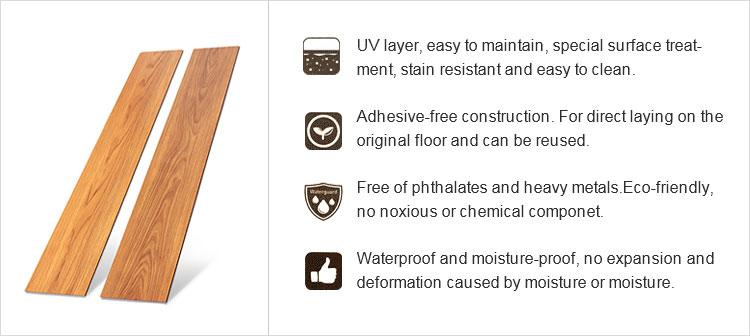 LVT Clock Lock Loose Lay Self Adhesive Dry Back Vinyl Flooring Luxury Vinyl Tile Flooring