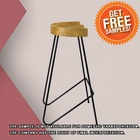 Wooden Seat Design Stool Industrial Vintage Antique Grey Black Iron Metal Tall Bar Stool With Wooden Seat