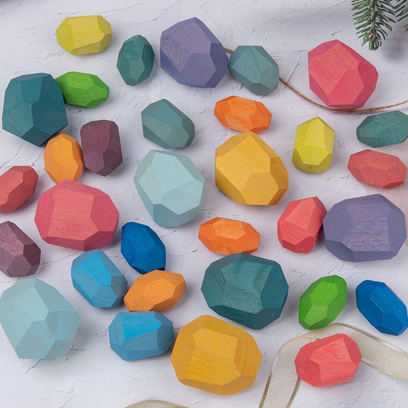 Children's Wooden Colored Stone wood Building Block Educational Toy Creative Nordic Style Stacking Game Rainbow Wooden Toy Gift