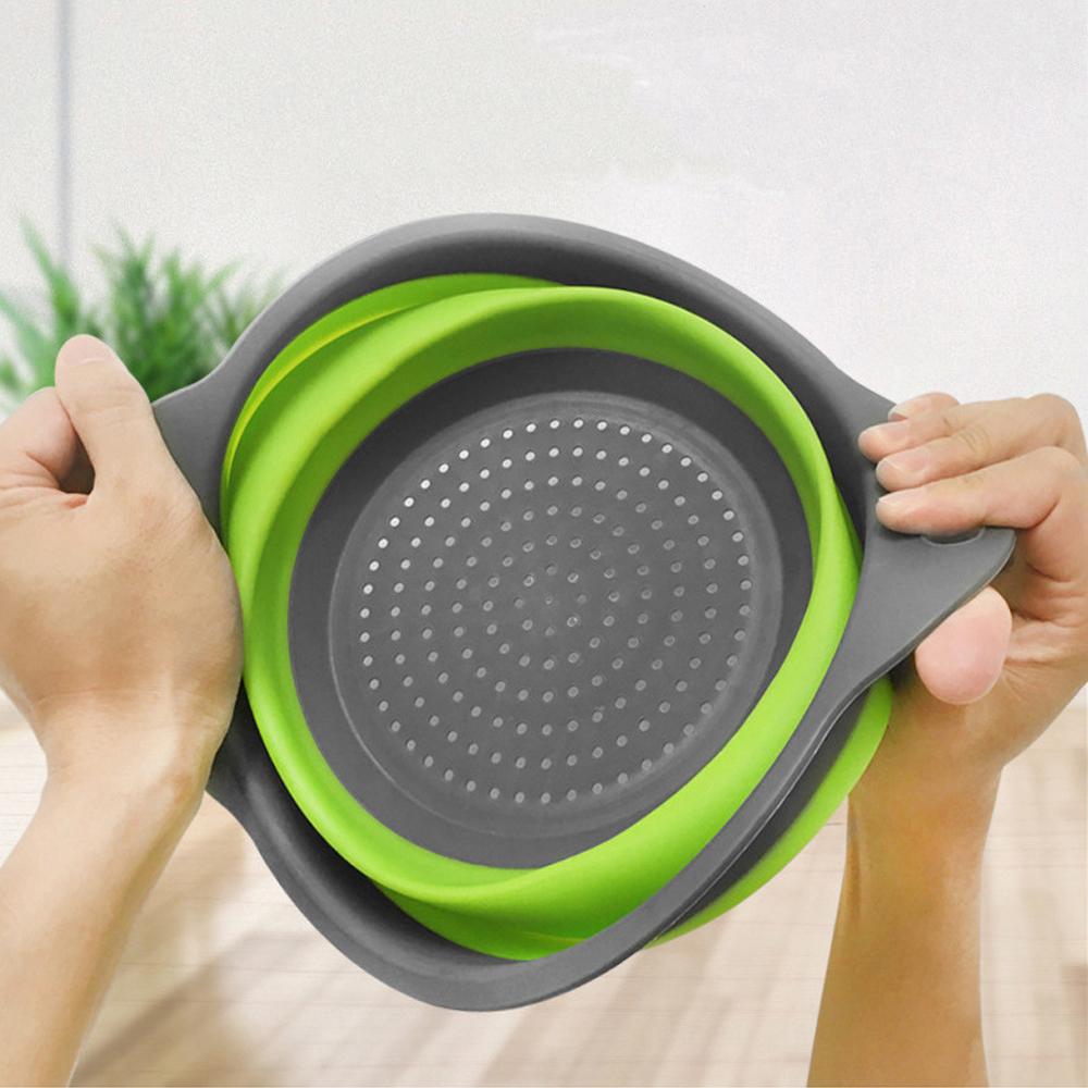 Amazon silicone collapsible colander kitchen drain basket fruit drain basket