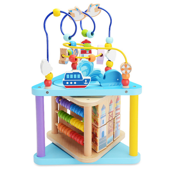 wooden multifunctional children toys activity cube baby