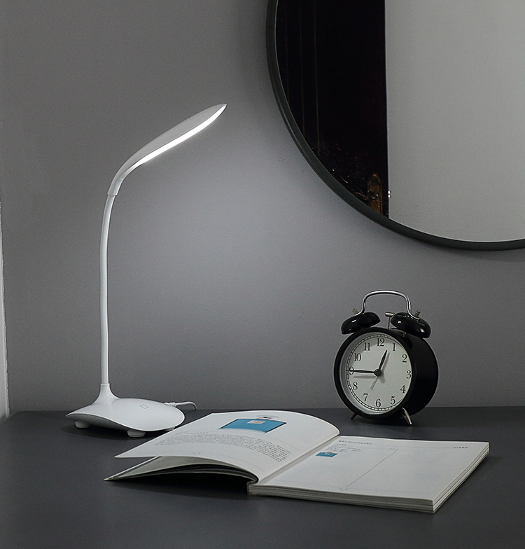 ABS plastic Portable Touch switch Folding and Dimmable Led Desk Lamp with USB Charge built in battery
