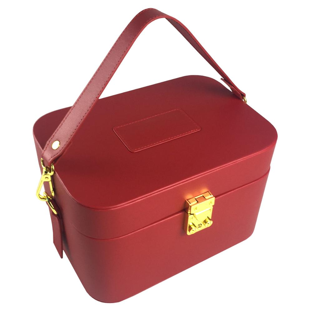 Dongguan Red High-end PU Leather For Woman Travel Cosmetic Box