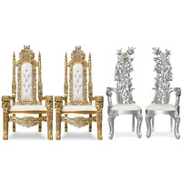 Wholesale High Back Wedding Chairs Antique King Throne Lion Chars For Bride & Groom Royal Wedding King Lion Chairs Set