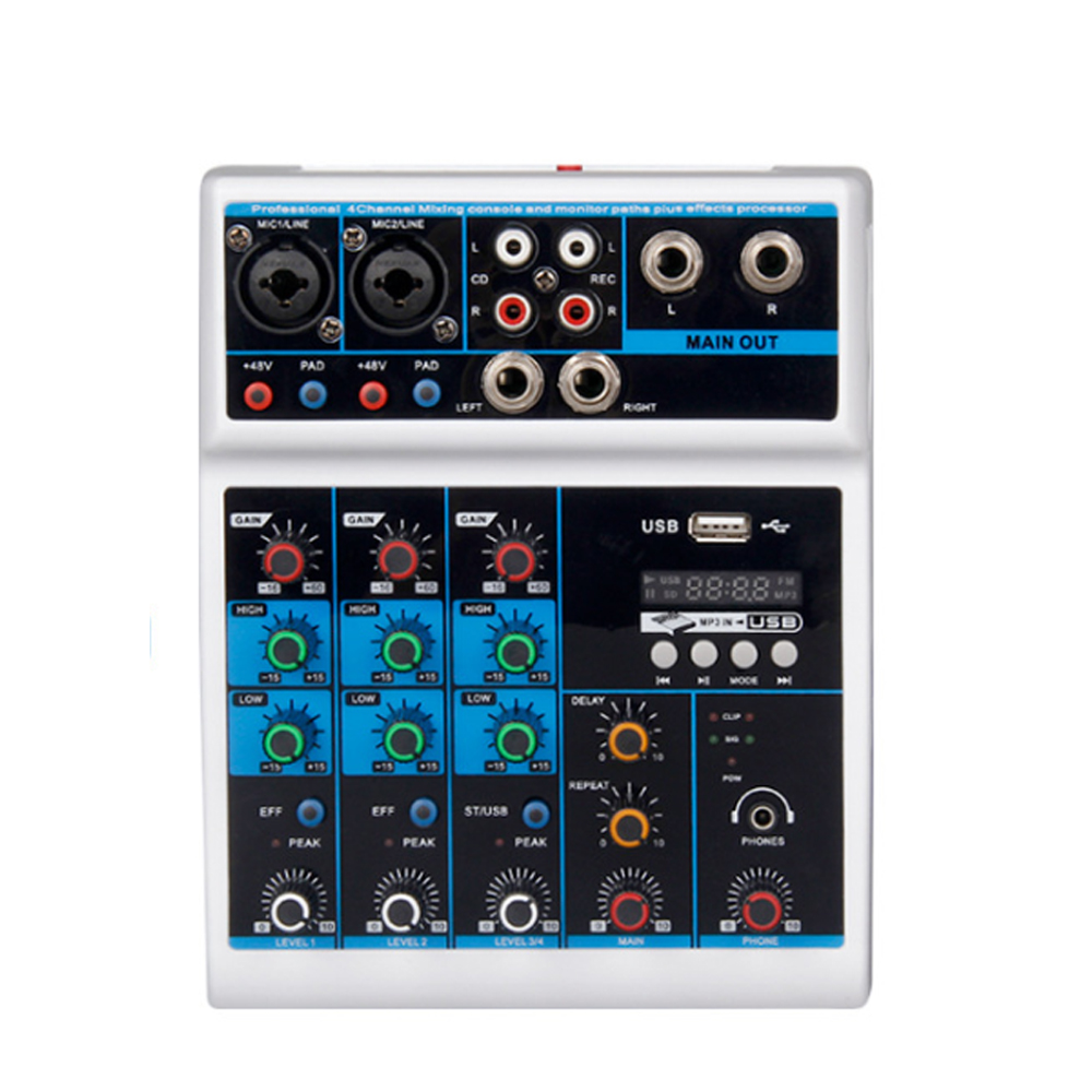 Top Warna Putih Bluetooth 4 Channel Mixer Konsol Usb Mini Mixer