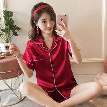 Весенняя Шелковая пижама комплекты, пижама, сексуальное сатиновое ночное белье для женщин, летняя Пижама большого размера, пижама для сна с ...(Китай)