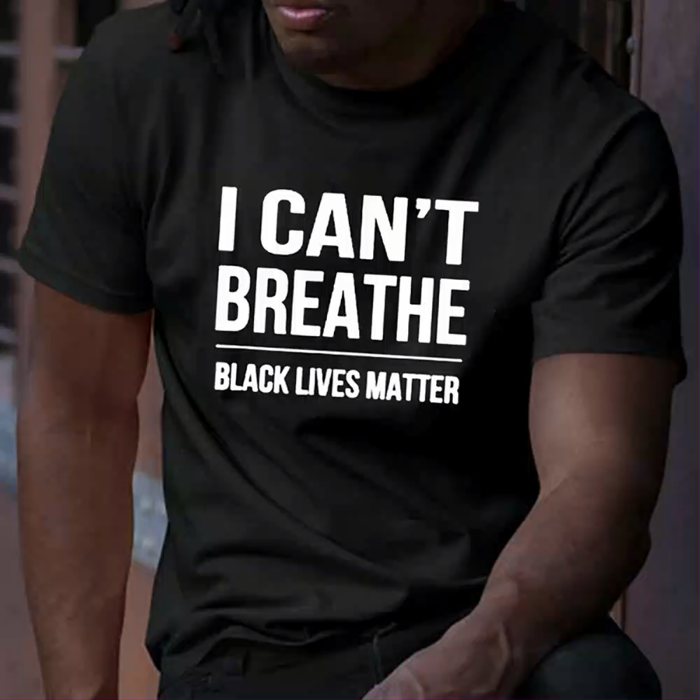 Hot Sale European and American Justice Short Sleeve Top I can't Breath Printed T-shirt