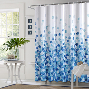 New Design Custom Made Pretty Blue Bubble Waterproof Polyester Shower Bathroom Curtains