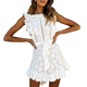 2019 Summer Elegant Beach Lace White Cotton Eyelet Embroidery Women Boho Mini Dresses