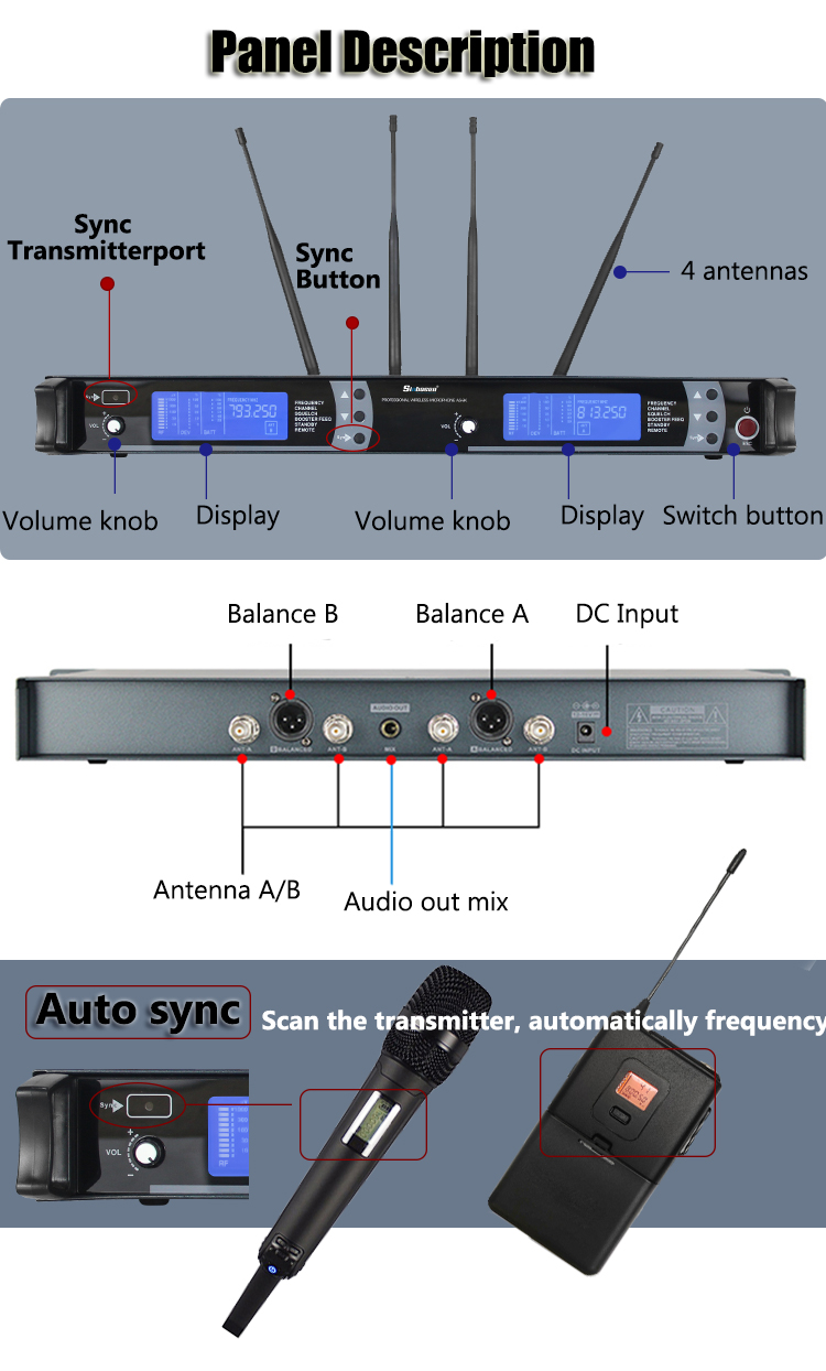 Dual channel headset wireless microphone AS-9K UHF professional karaoke microphone studio with handheld mic