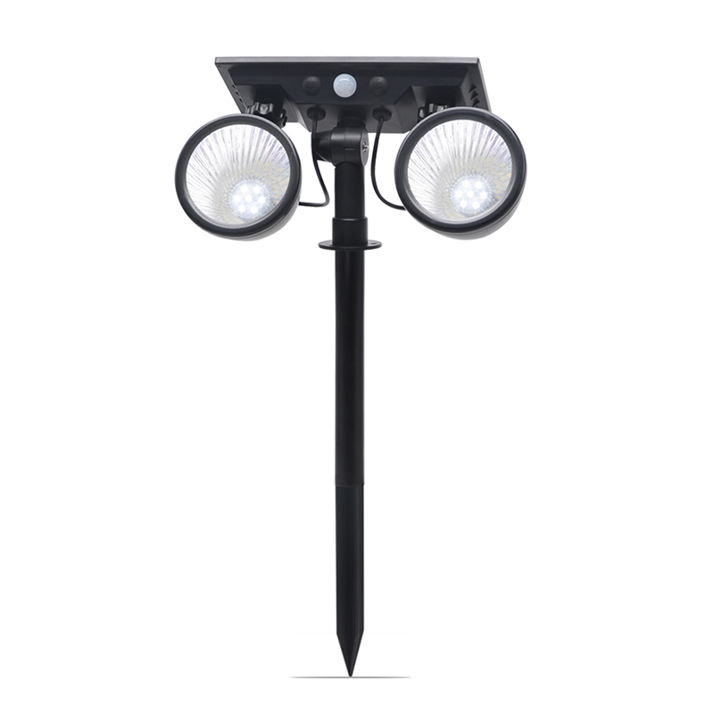 dual  color switchable PIR sensor Solar  lawn lamp Solar spotlight with 2 LAMP