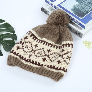 OEM custom free knitting/knit pattern winter hat striped beanie cap